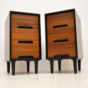 pair of retro vintage walnut bedside chests john and sylvia reid for stag c range