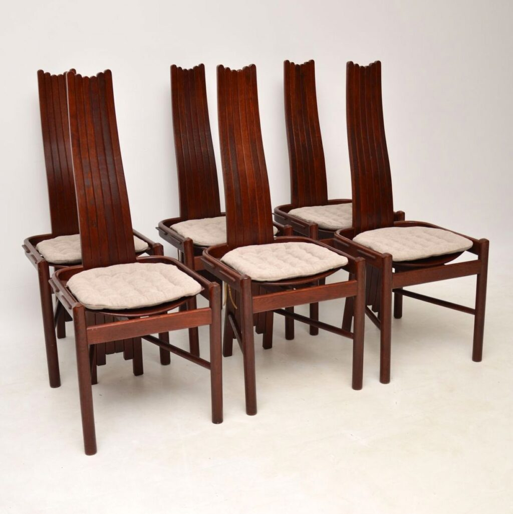 set of six retro vintage dining chairs