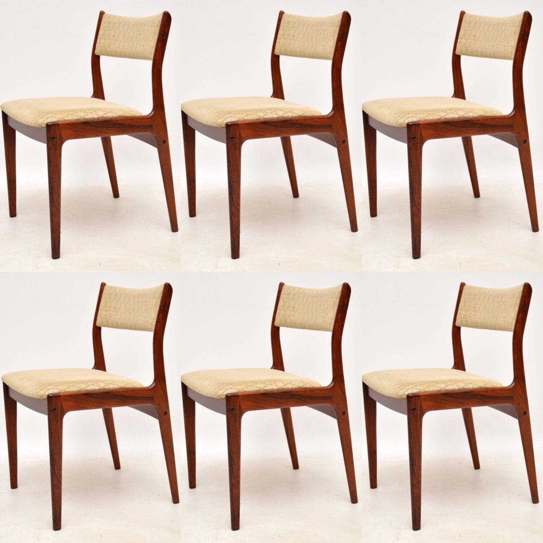 danish retro vintage rosewood dining chairs johannes andersen