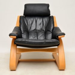 danish leather vintage retro bentwood armchair