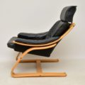 1970's Danish Leather Bentwood Armchair