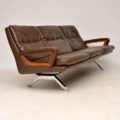 1960's Danish Vintage Leather Teak and Chrome Sofa