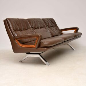 danish leather teak chrome vintage retro sofa