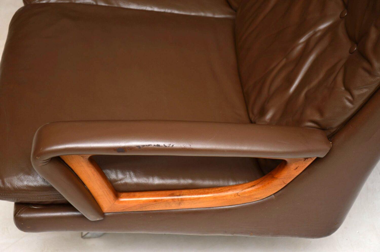 danish leather teak chrome vintage retro sofa