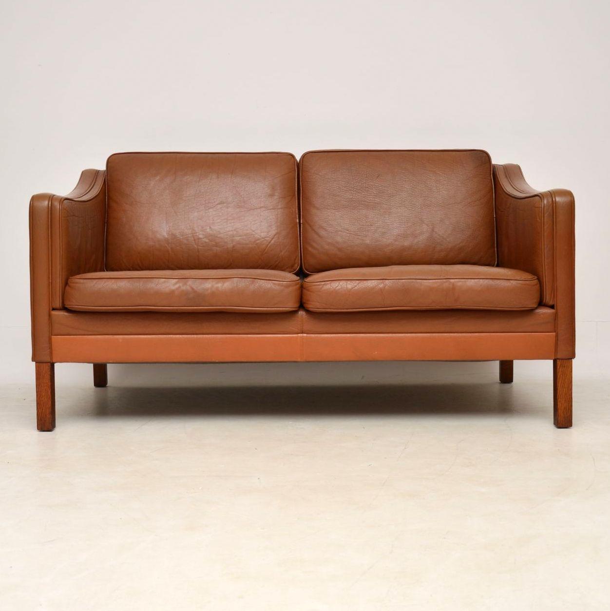 danish leather vintage retro two seat sofa