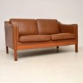 1960's Danish Vintage Leather Two Seat Sofa