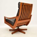 1970's Leather & Teak Reclining Armchair & Stool by Lied Mobler