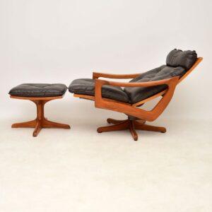 danish leather teak reclining swivel vintage retro armchair stool