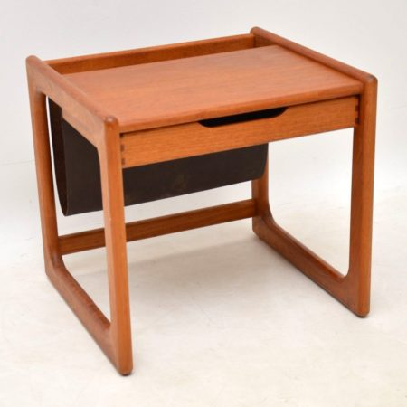 1960's Danish Teak & Leather Side Table Magazine Rack