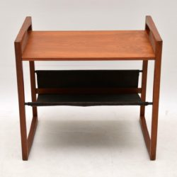 danish retro vintage teak leather side table kai kristiansen