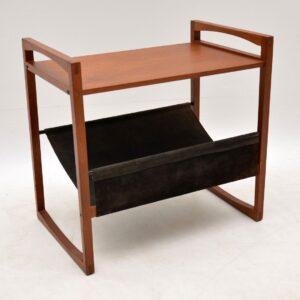danish retro vintage teak leather side table kai kristiansen