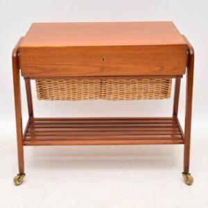 danish teak sewing table box retro drinks trolley povl dinesen