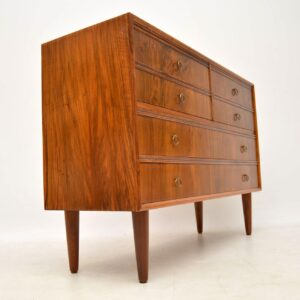 danish retro vintage walnut chest of drawers