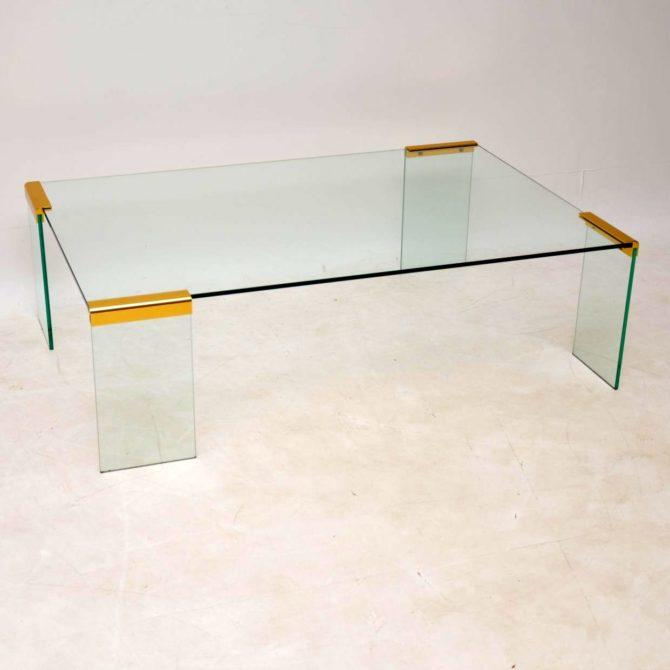 italian vintage retro glass brass coffee table gallotti and radice