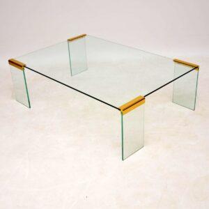 1970's Vintage Italian Glass & Brass Coffee Table by Gallotti & Radice