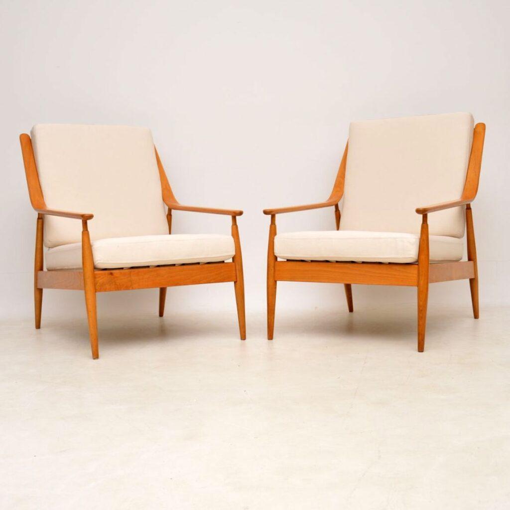 pair of vintage retro danish scandart armchairs