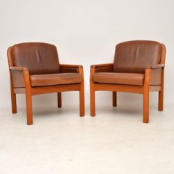 1960's Pair of Danish Teak & Leather Armchairs