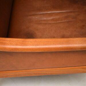 1960's Pair of Danish Teak & Leather Armchairs