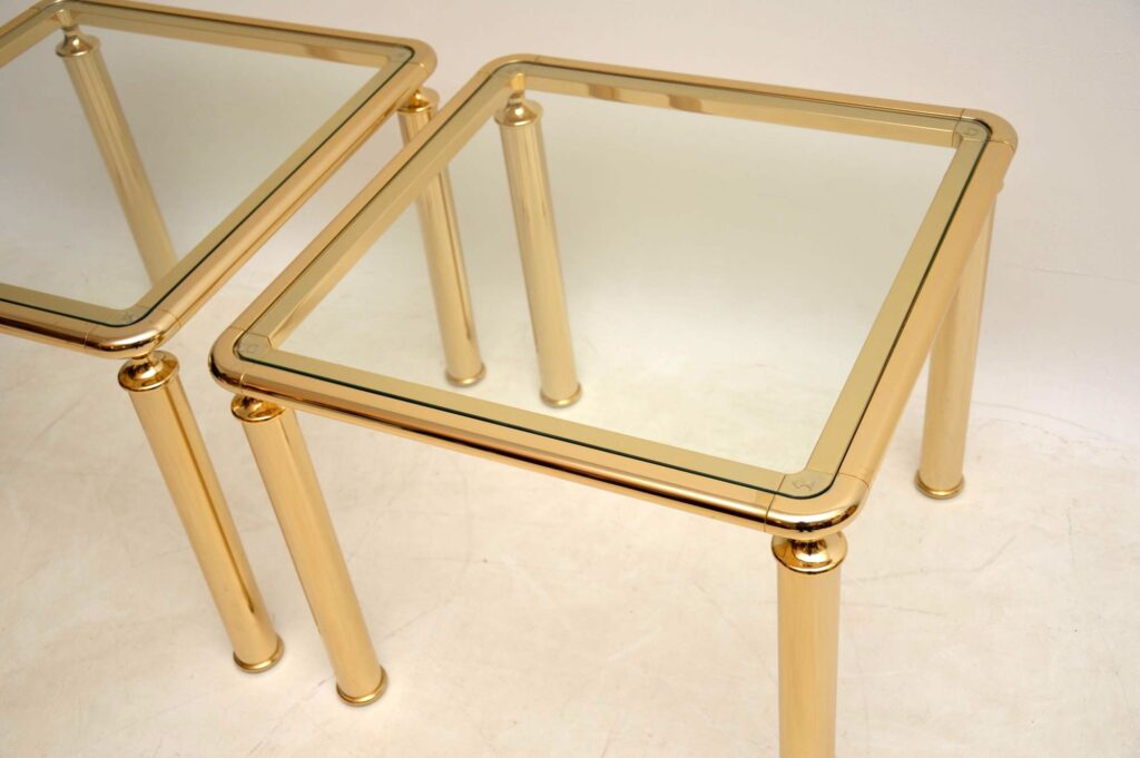 pair of retro french italian brass glass side tables