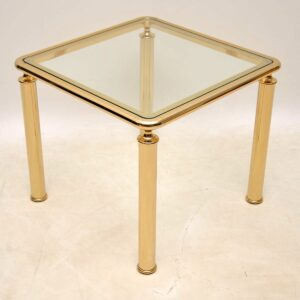 1970's Vintage Pair of Brass & Glass Side Tables