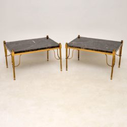 1950's Pair of Vintage French Marble & Brass Side Tables