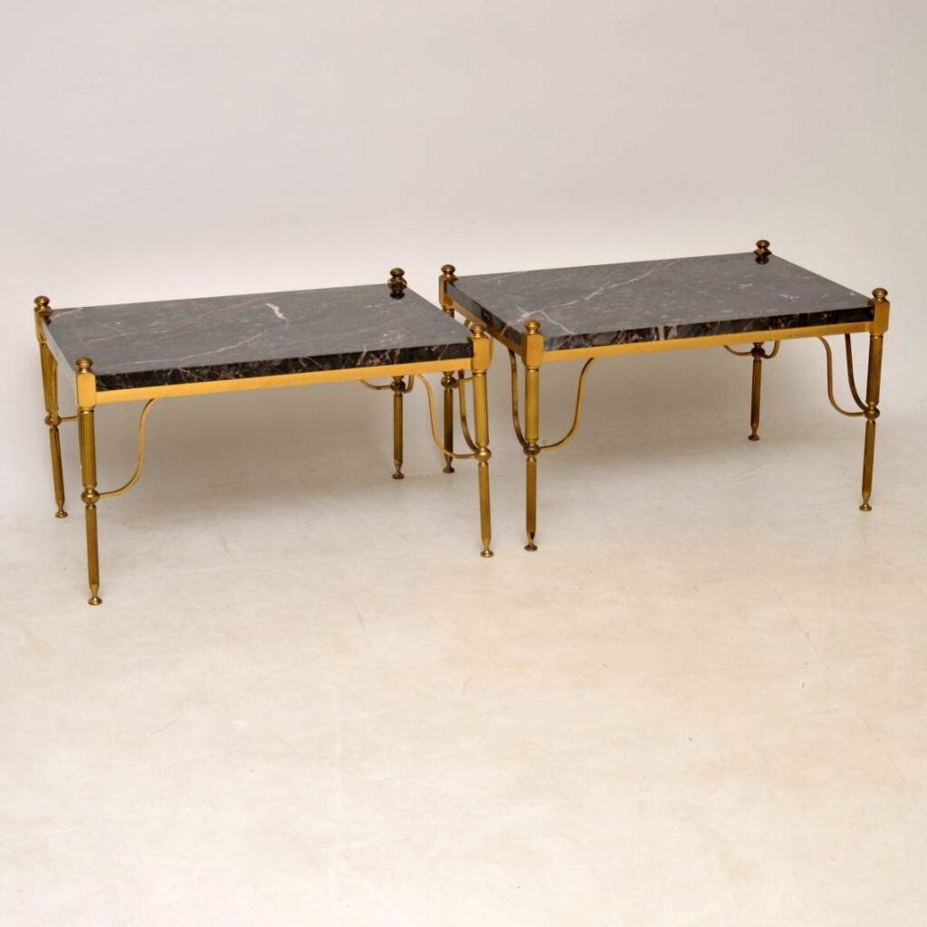 pair of antique vintage retro marble brass french tables