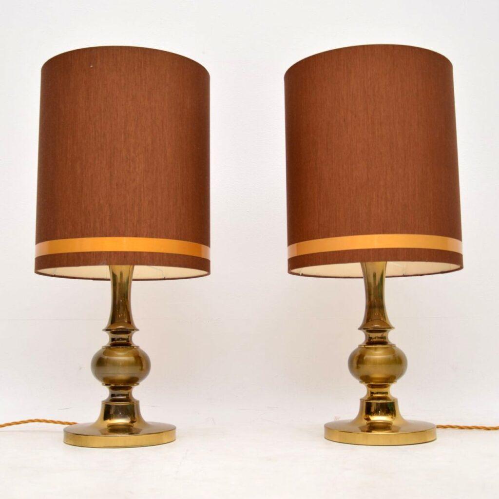 pair of vintage retro brass italian table lamps