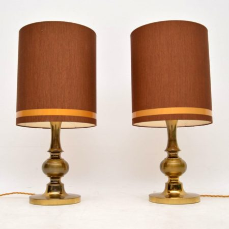1960's Pair of Vintage Italian Brass Table Lamps