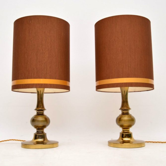 pair of vintage retro brass italian table lamps