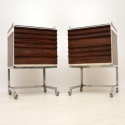 1970's Pair of Vintage Rosewood Effect & Chrome Chests