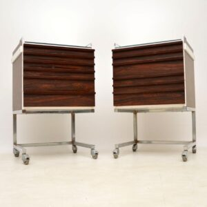 pair of retro vintage rosewood chrome chests