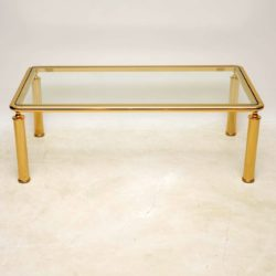retro vintage french italian brass glass coffee table