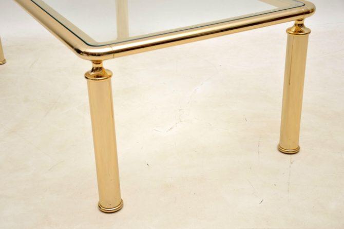 retro vintage french italian brass glass coffee table