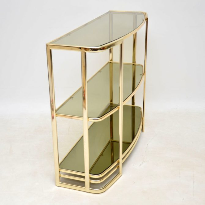 vintage retro brass italian side console table bookcase