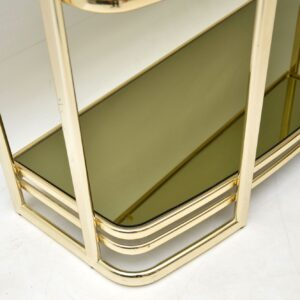 vintage retro brass italian side console table bookcase