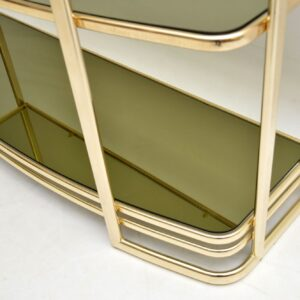 1970's Vintage Italian Brass Console Table / Bookshelf / Bookcase
