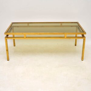 retro vintage brass glass french coffee table