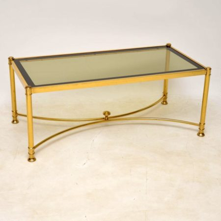 1970's Vintage Brass & Glass French Coffee Table