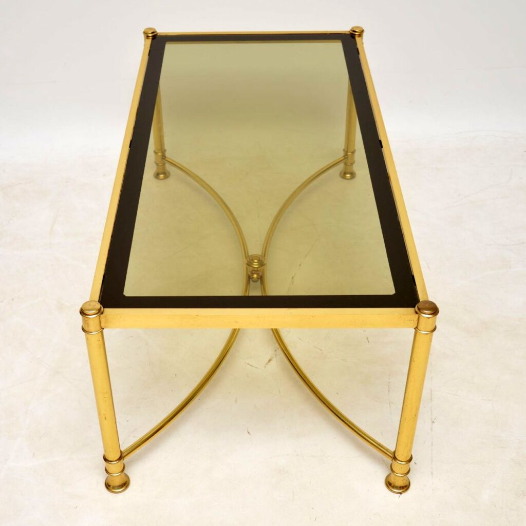 retro vintage brass french coffee table
