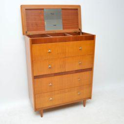vintage retro oak walnut vanity chest of drawers mirror