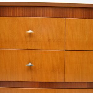 vintage retro oak walnut vanity chest of drawers mirror