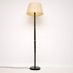 1950's Vintage Ebonised Wood & Brass Floor Lamp