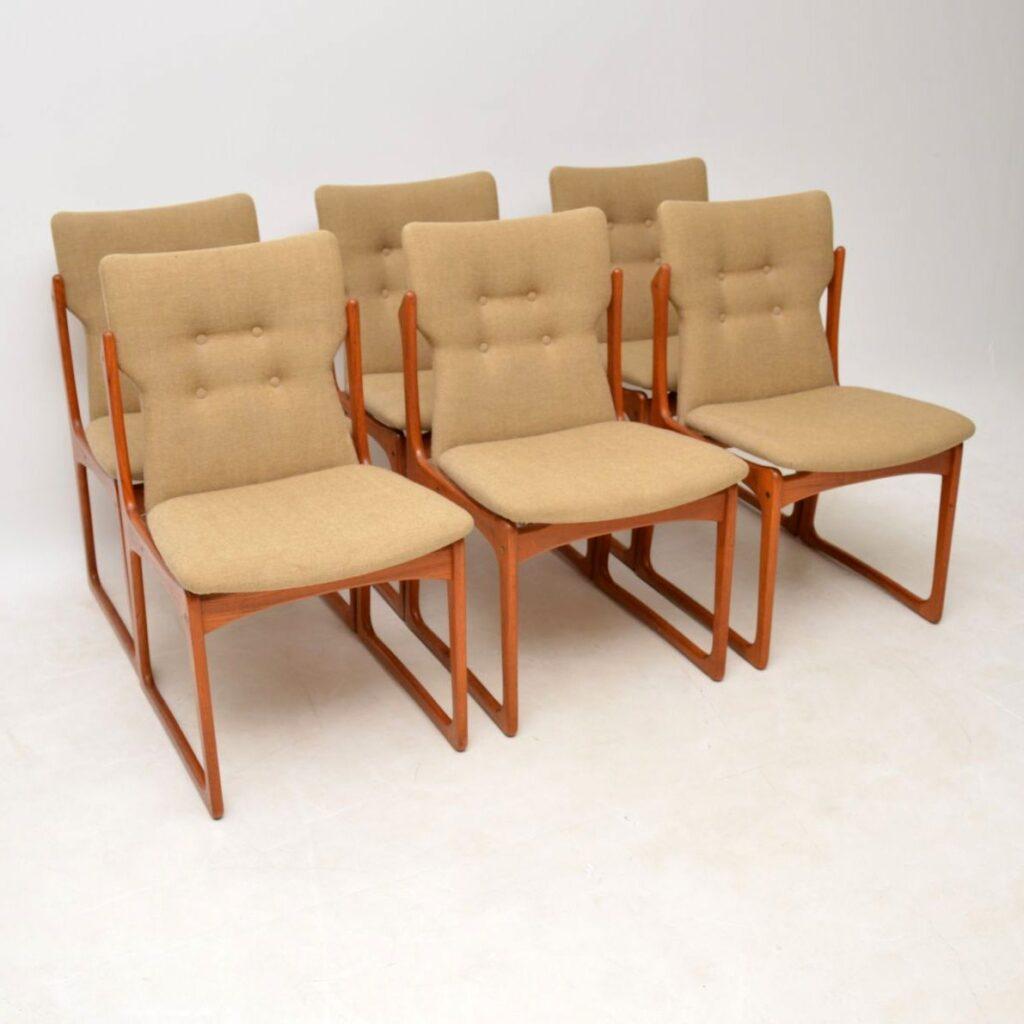 danish teak retro vintage dining chairs