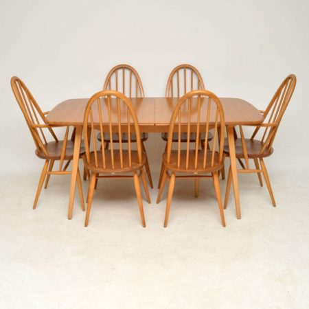 1960's Vintage Ercol Grand Windsor Dining Table & Six Chairs