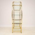 1970's Italian Vintage Brass & Glass Display Cabinet / Bookcase