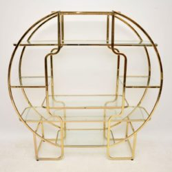 italian brass retro vintage display cabinet bookcase
