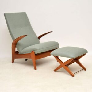 gimson and slater rastad and relling vintage retro reclining armchair and stool
