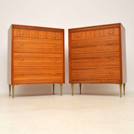 1950's Pair of Vintage Walnut & Brass Chest of Drawers
