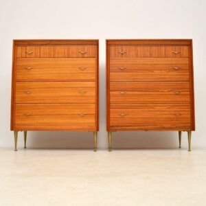 pair of retro vintage walnut brass chest chests of drawers