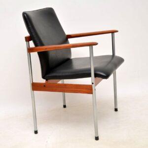 teak chrome leather danish desk chair armchair
